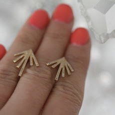 Joulberry Gold Diamond Palm Leaf Earrings