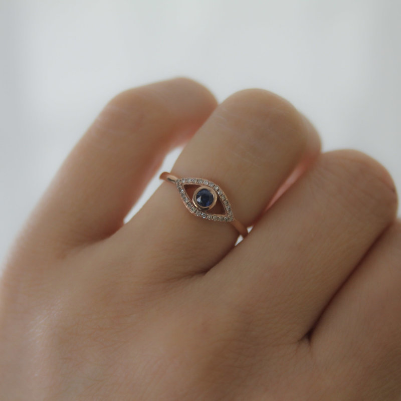 BOHO Rose Diamond and Sapphire Protection Ring