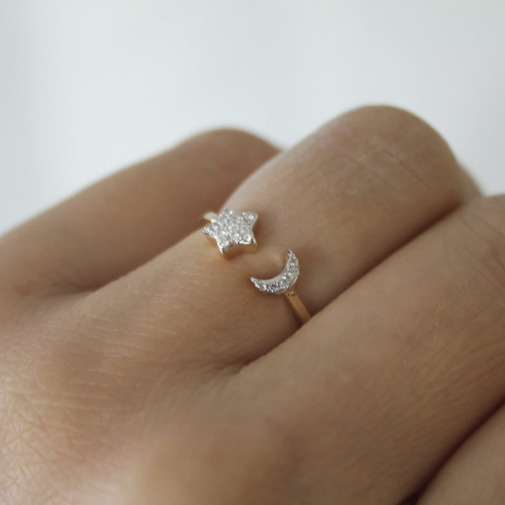 Gold Moon and Star Diamond Ring