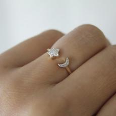 LUNA Gold Moon and Star Diamond Ring