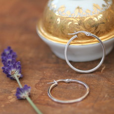 White Gold Polo Hoop Earrings