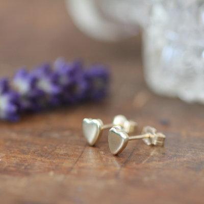Gold Slender Heart Earrings
