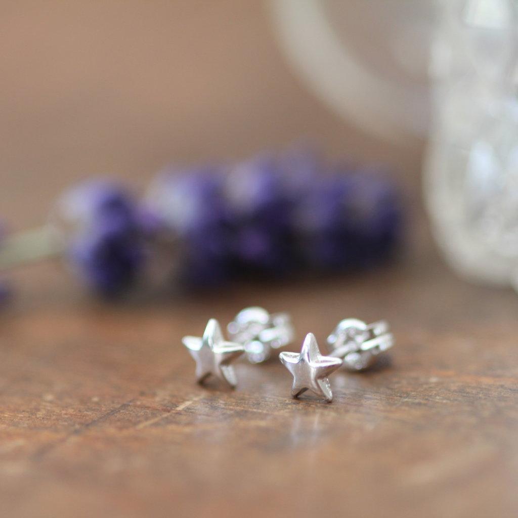 White Gold Star Earrings