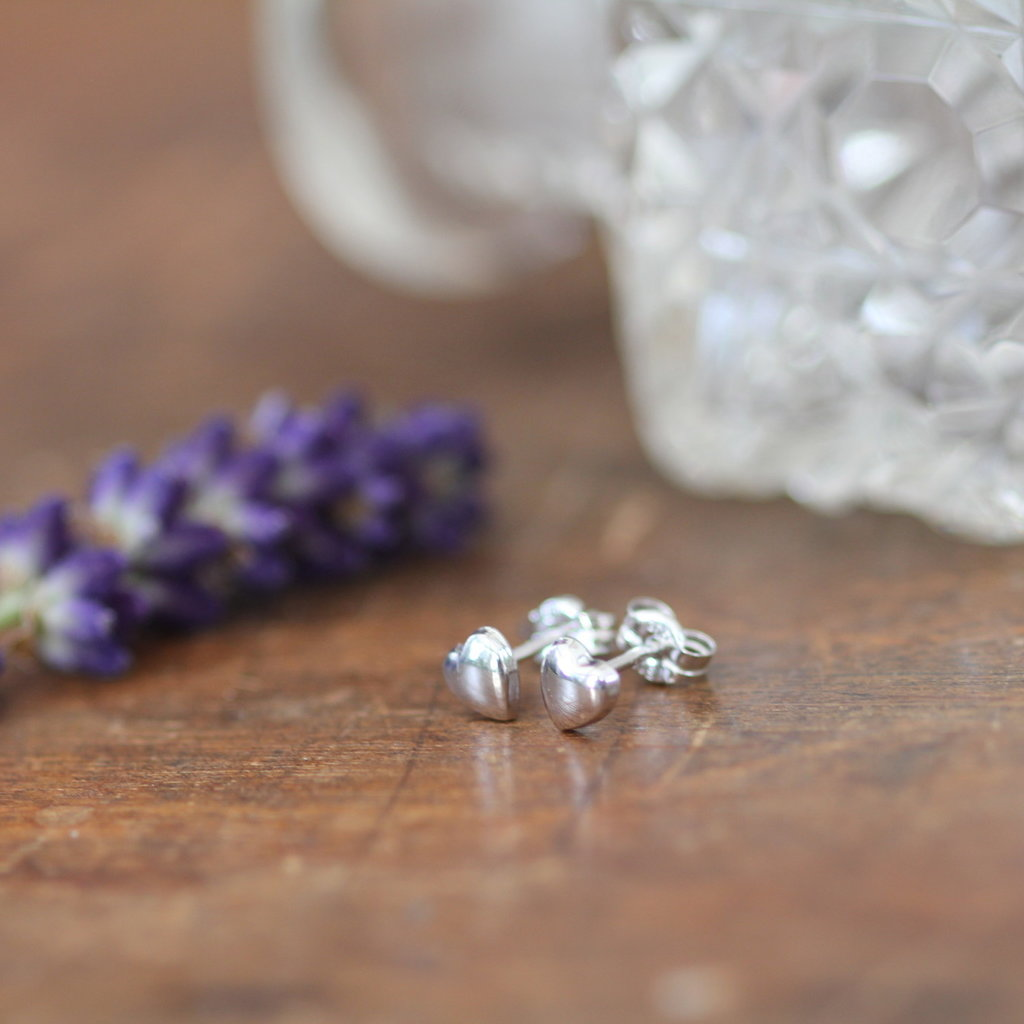 White Gold Petite Heart Earrings