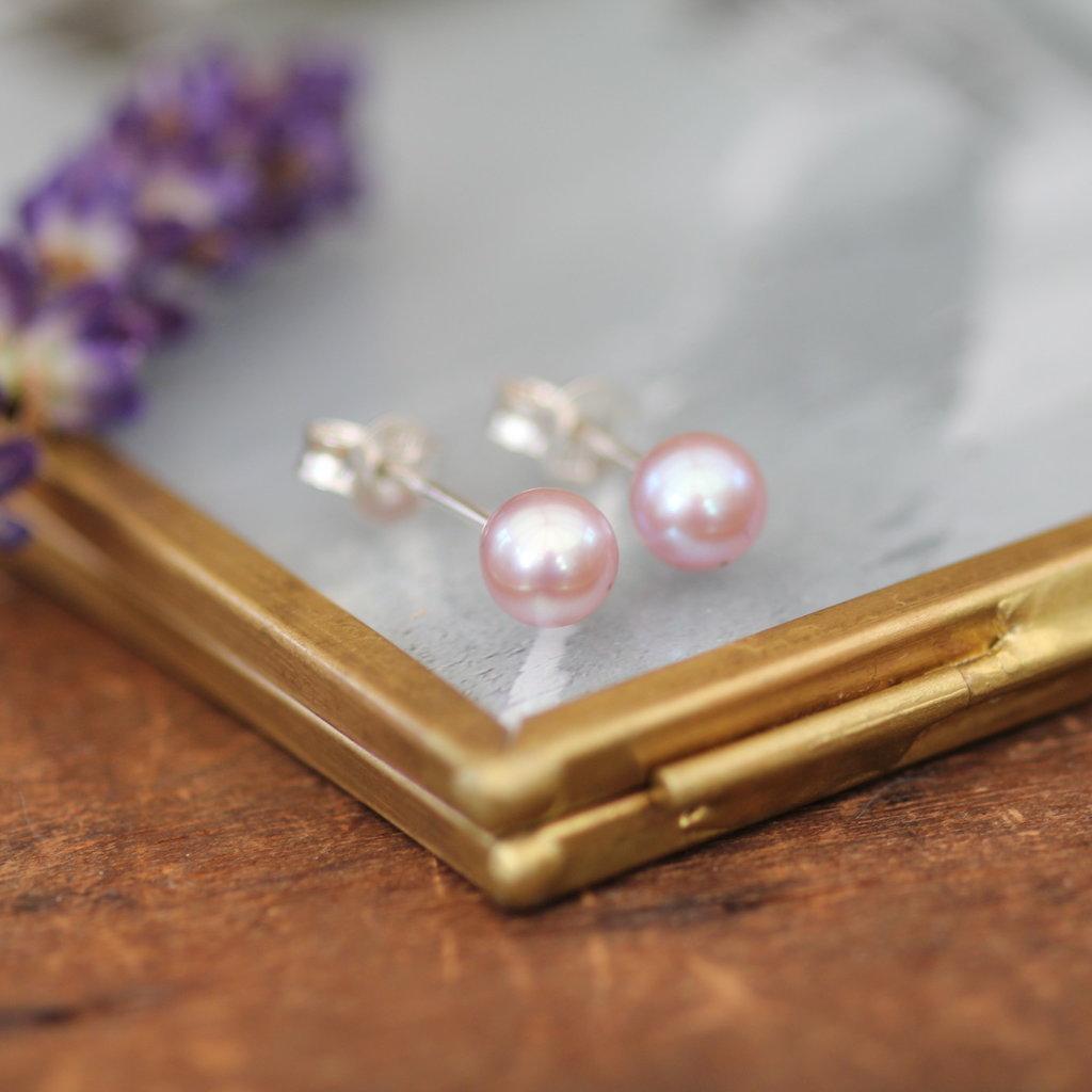 Blush Ocean Pearl Stud Earrings