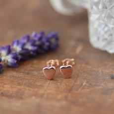 DARCY Rose Gold Slender Heart Earrings