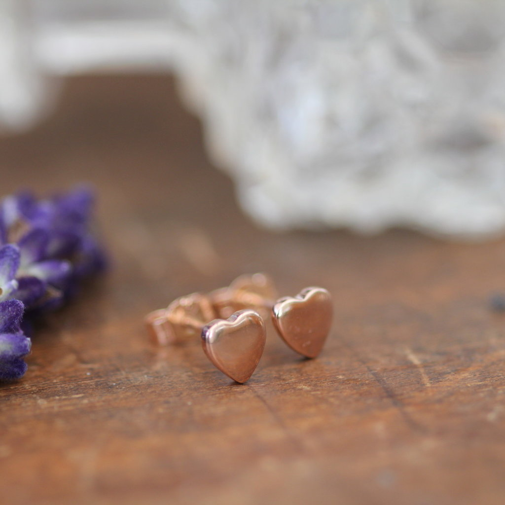 Rose Gold Slender Heart Earrings
