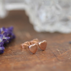 Joulberry Rose Gold Slender Heart Earrings