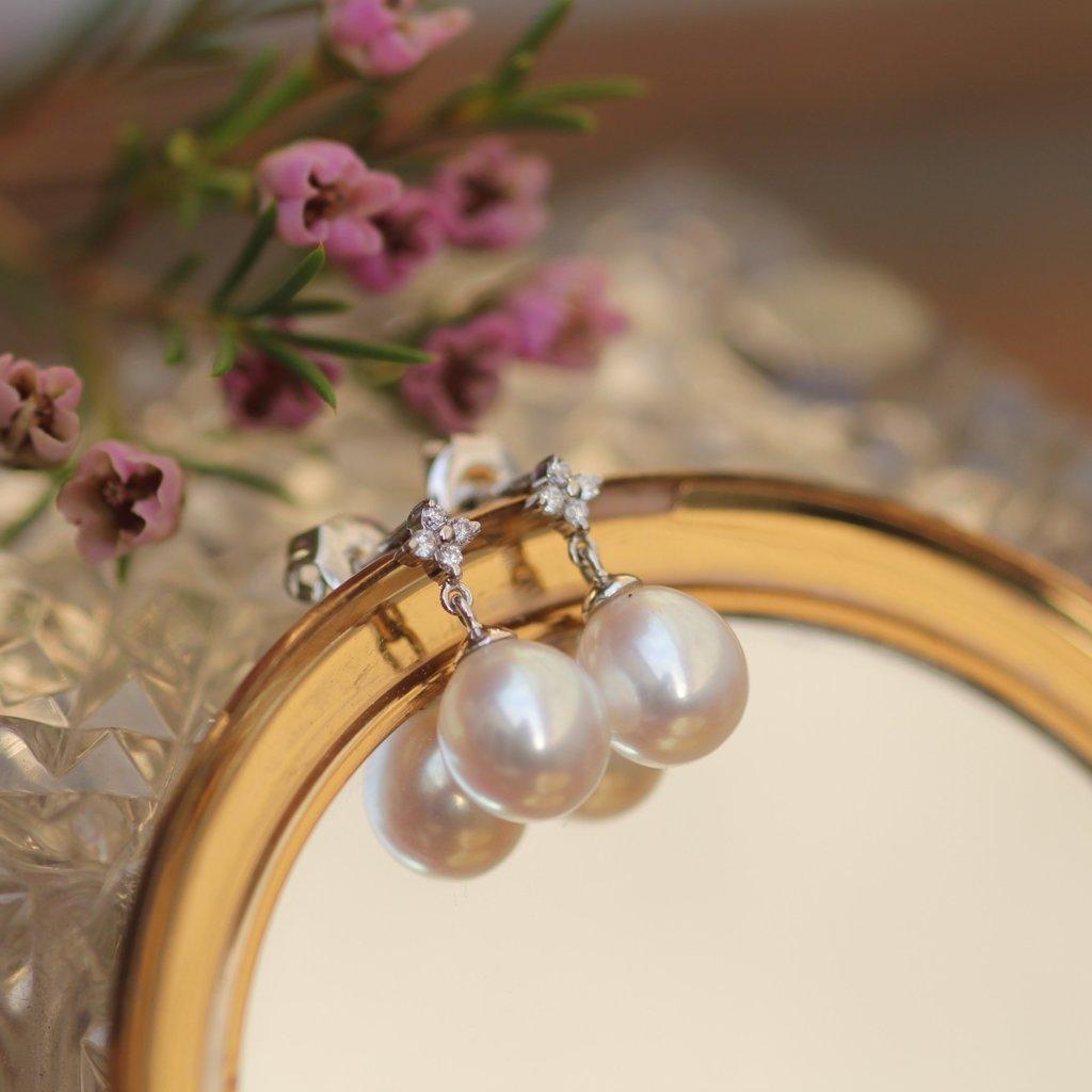 White Gold Pearl Daisy Diamond Earrings