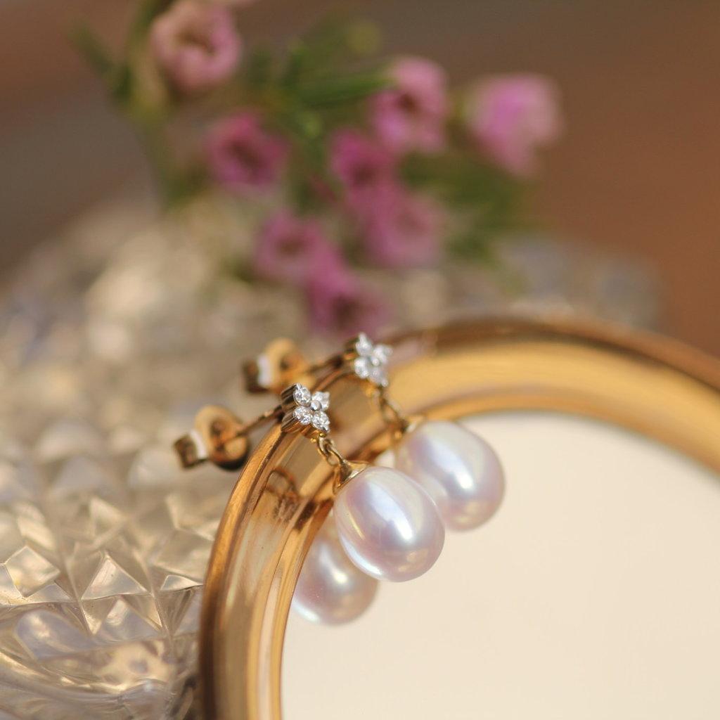 Joulberry Gold Daisy Diamond Earrings
