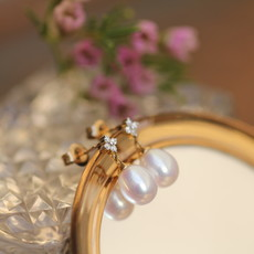 Gold Pearl Daisy Diamond Earrings
