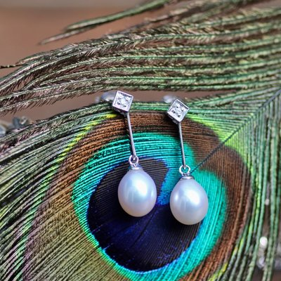 Deco Diamond Pearl Drop Earrings