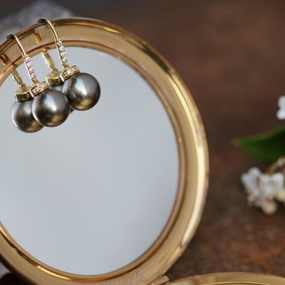 Gold Tahitian Pearl Diamond Drop Earrings