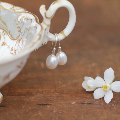 White Teardrop Pearl Drop Earrings
