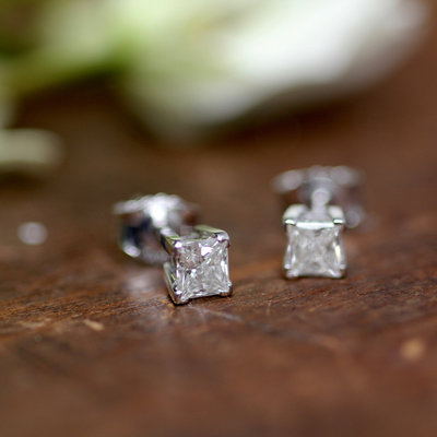 18 Carat Princess Cut Diamond Earrings