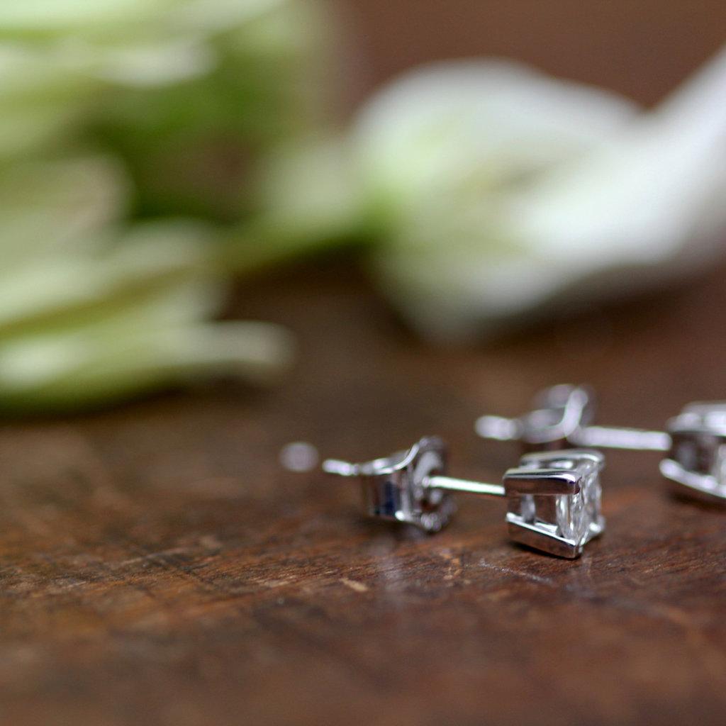 BARDOT White Gold Princess Cut Diamond Earrings