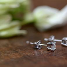 18 Carat Princess Cut Diamond Earrings