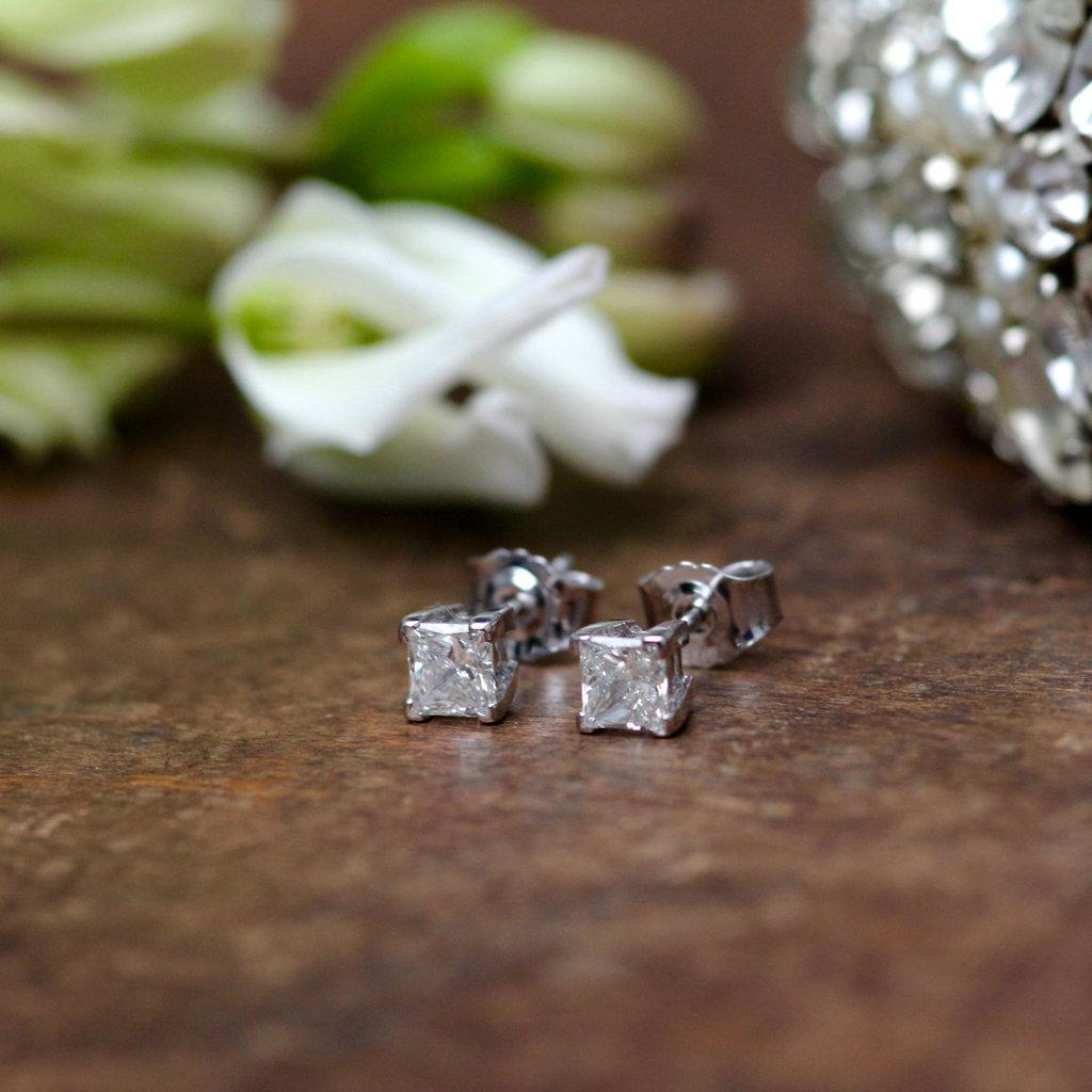 BARDOT 18 Carat Princess Cut Diamond Earrings