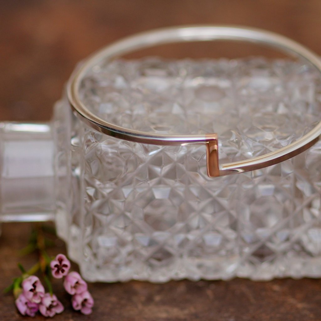Silver and Rose Gold Bolt Bangle