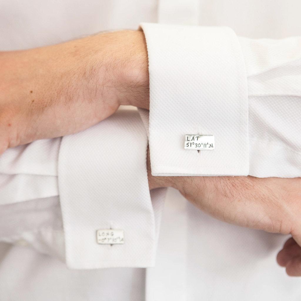 Personalised Long Lat Cufflinks