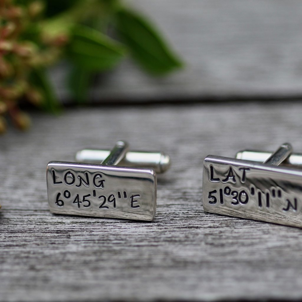 Joulberry Personalised Long Lat Cufflinks