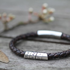Joulberry Personalised Brown Bono Scroll Bracelet