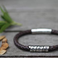 Personalised Brown Bono Scroll Bracelet