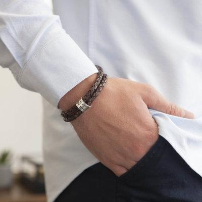 Joulberry Personalised Brown Islington Ring Bracelet