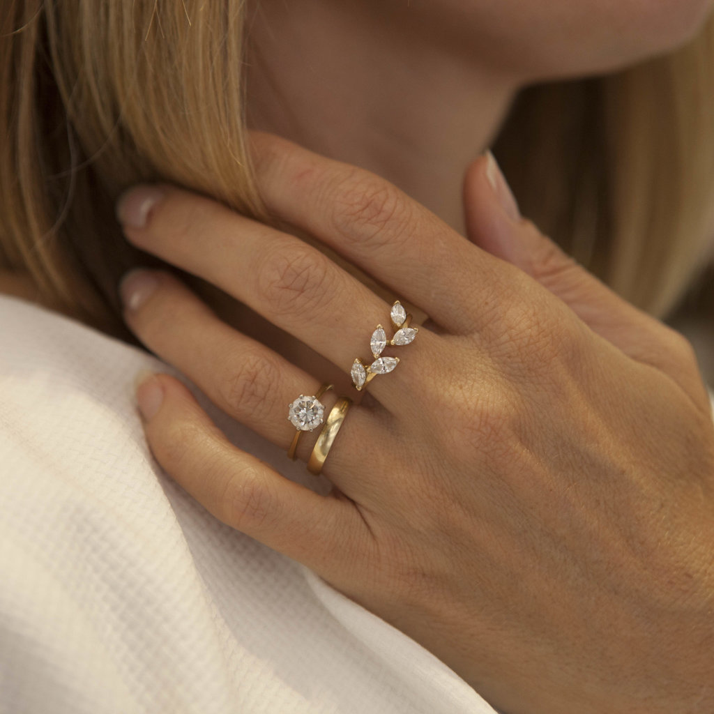 Joulberry Golden Marquise Diamond Leaf Ring