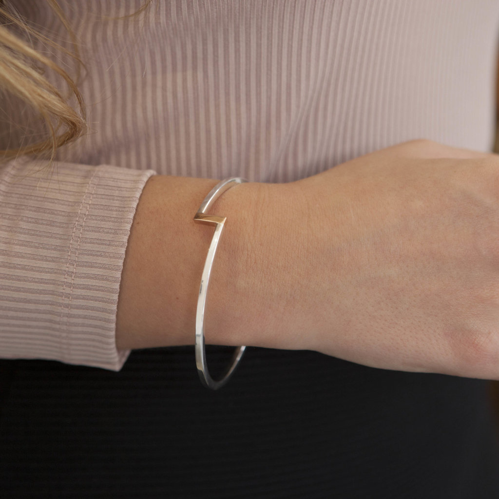 Joulberry Silver and Rose Gold Bolt Bangle