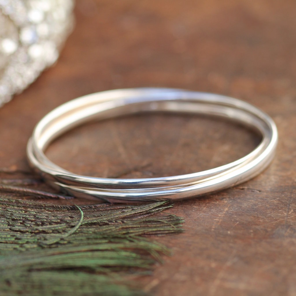 Joulberry Russian Silver Elipse Bangle