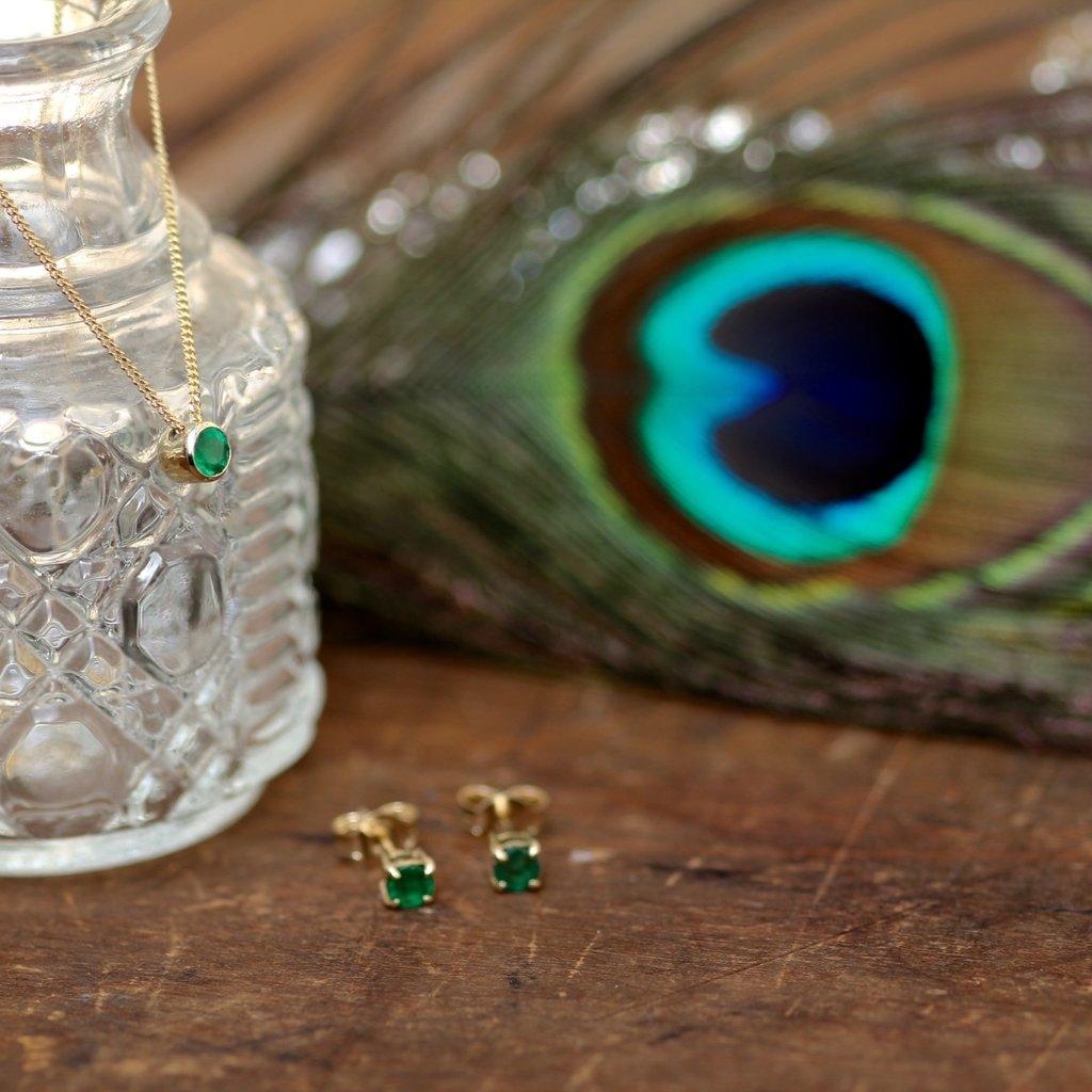 Gold Emerald Stud Earrings