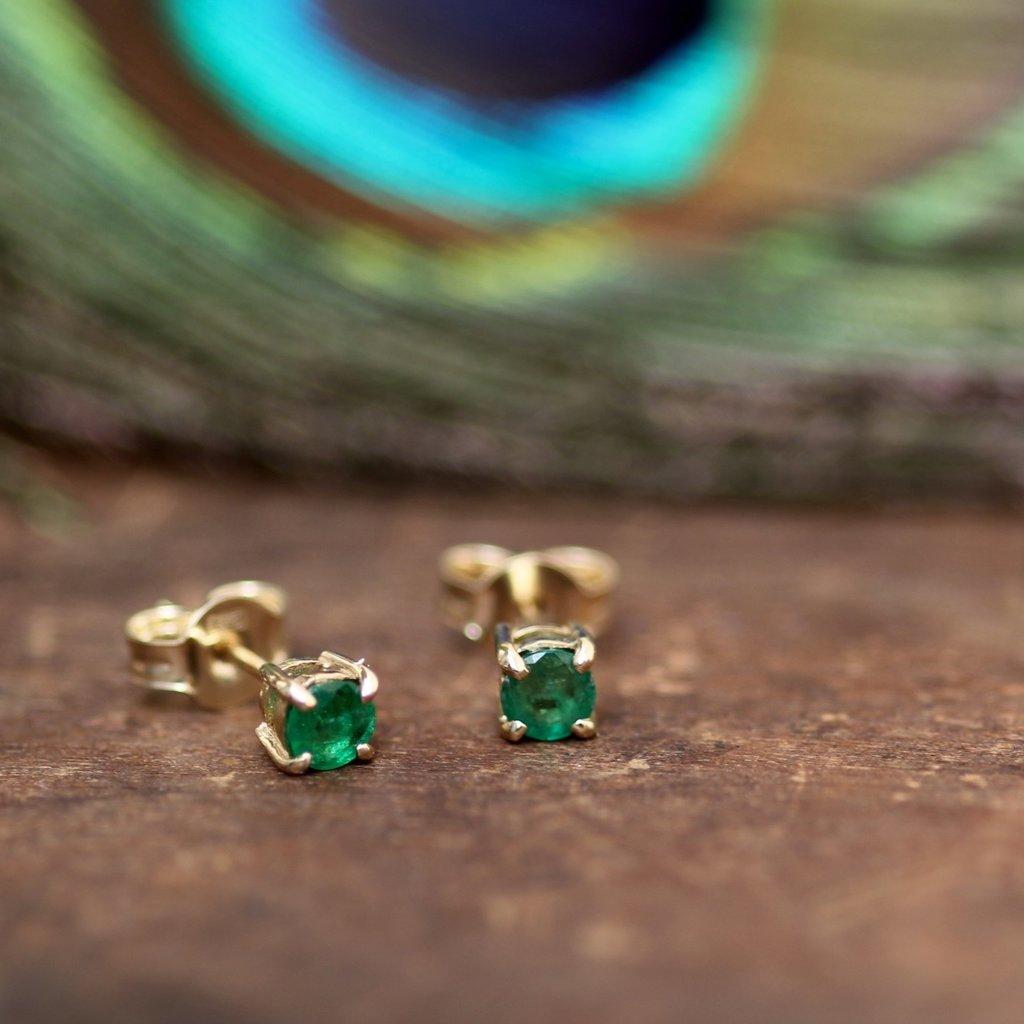 DAISY Emerald Gold Stud Earrings