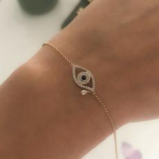 BOHO Gold Diamond and Sapphire Teardrop Protection Bracelet