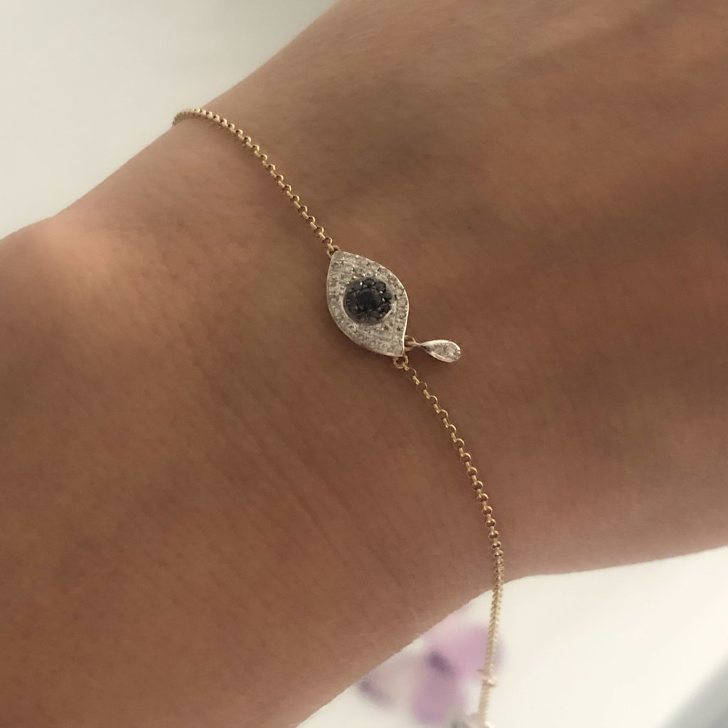 Gold Diamond and Sapphire Cluster Tear Protection Bracelet