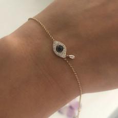 BOHO Gold Diamond and Sapphire Cluster Tear Protection Bracelet
