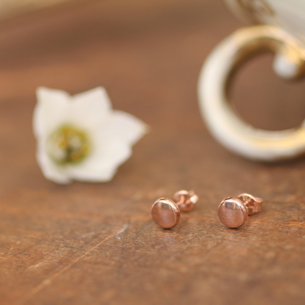 MADISON Rose Gold Button Earrings