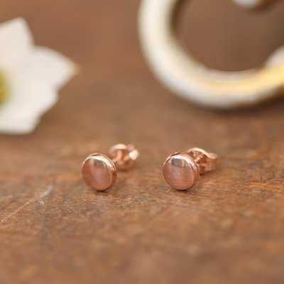 Rose Gold Button Earrings
