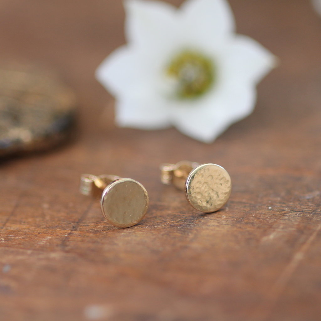 LUNA Golden Hammered Button Earrings