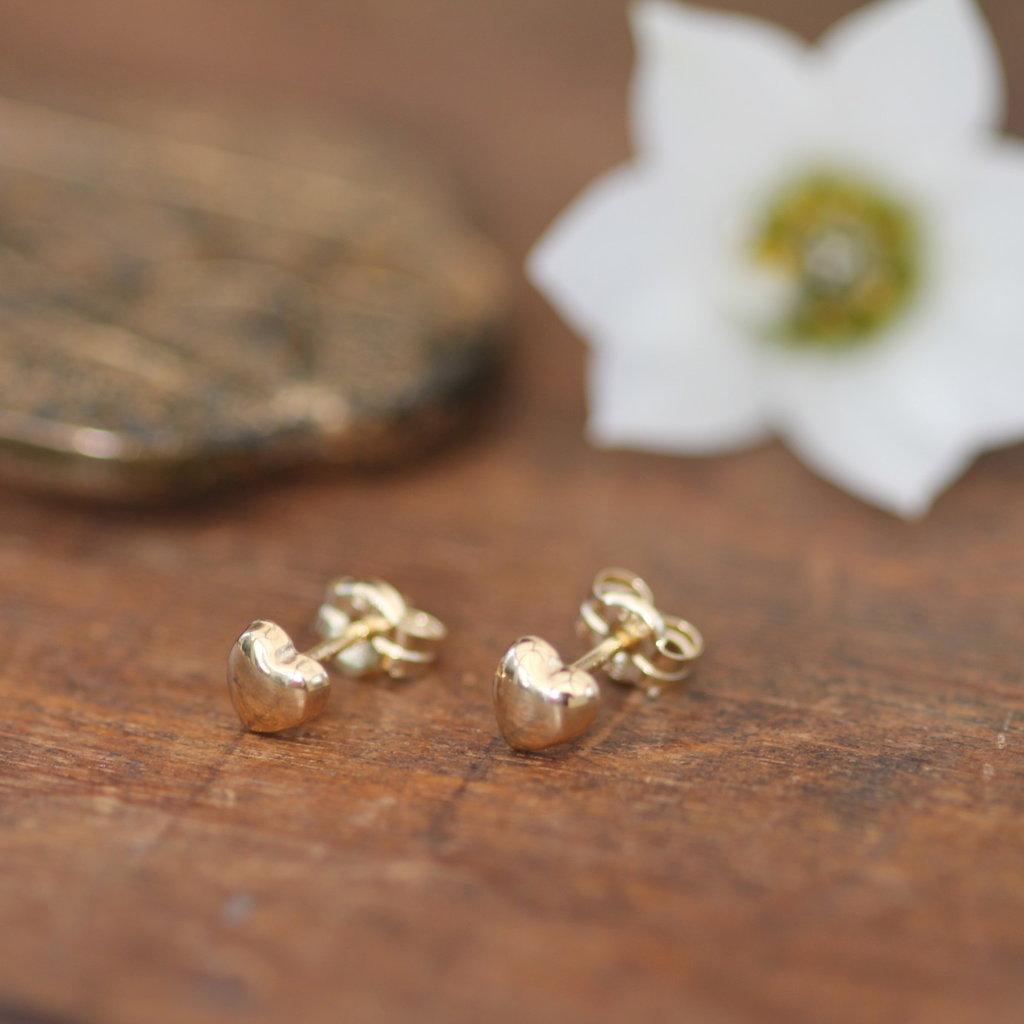 Gold Petite Heart Earrings