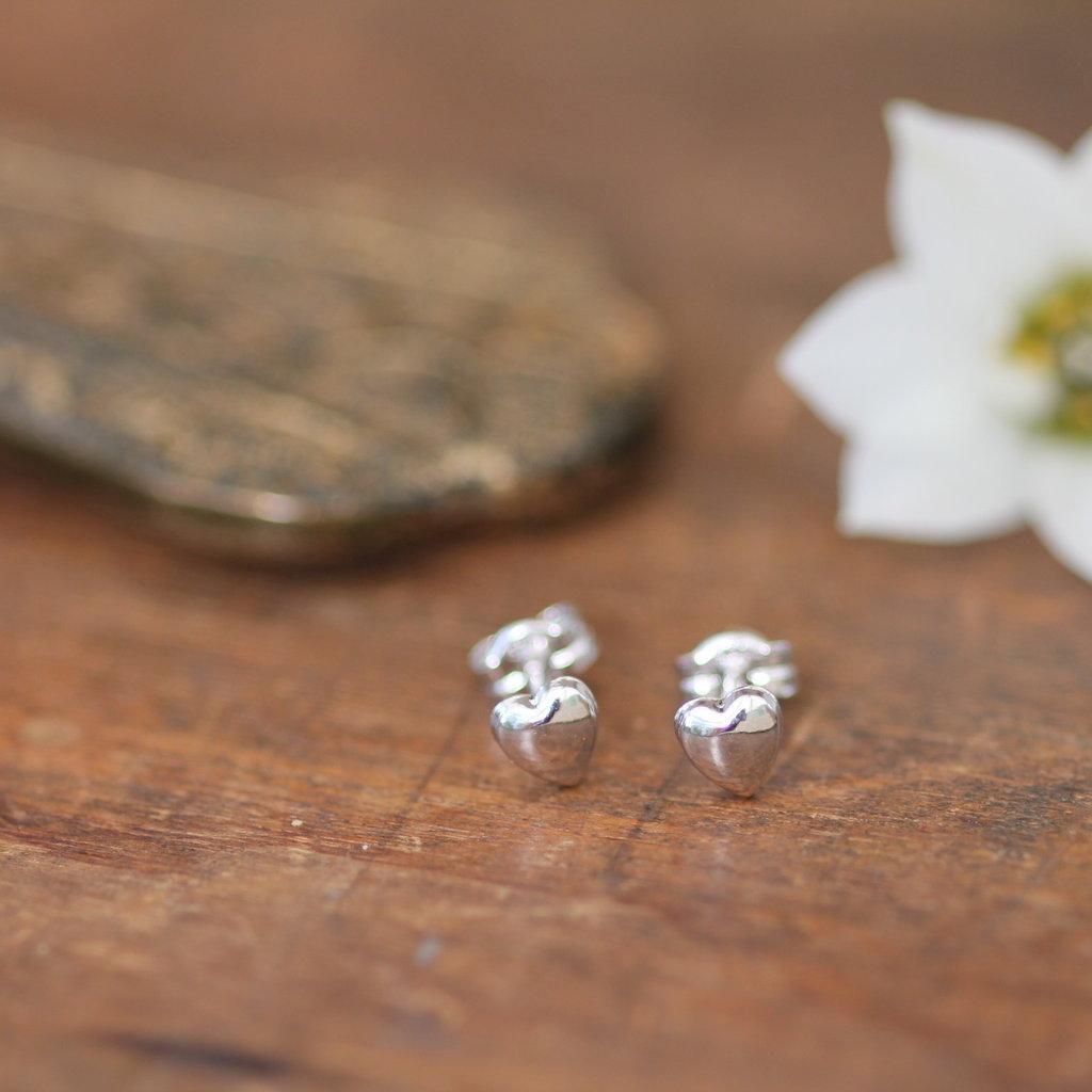 Silver Petite Heart Earrings