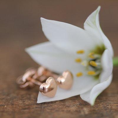 Rose Gold Petite Heart Earrings