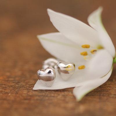 White Gold Petite Heart Earrings