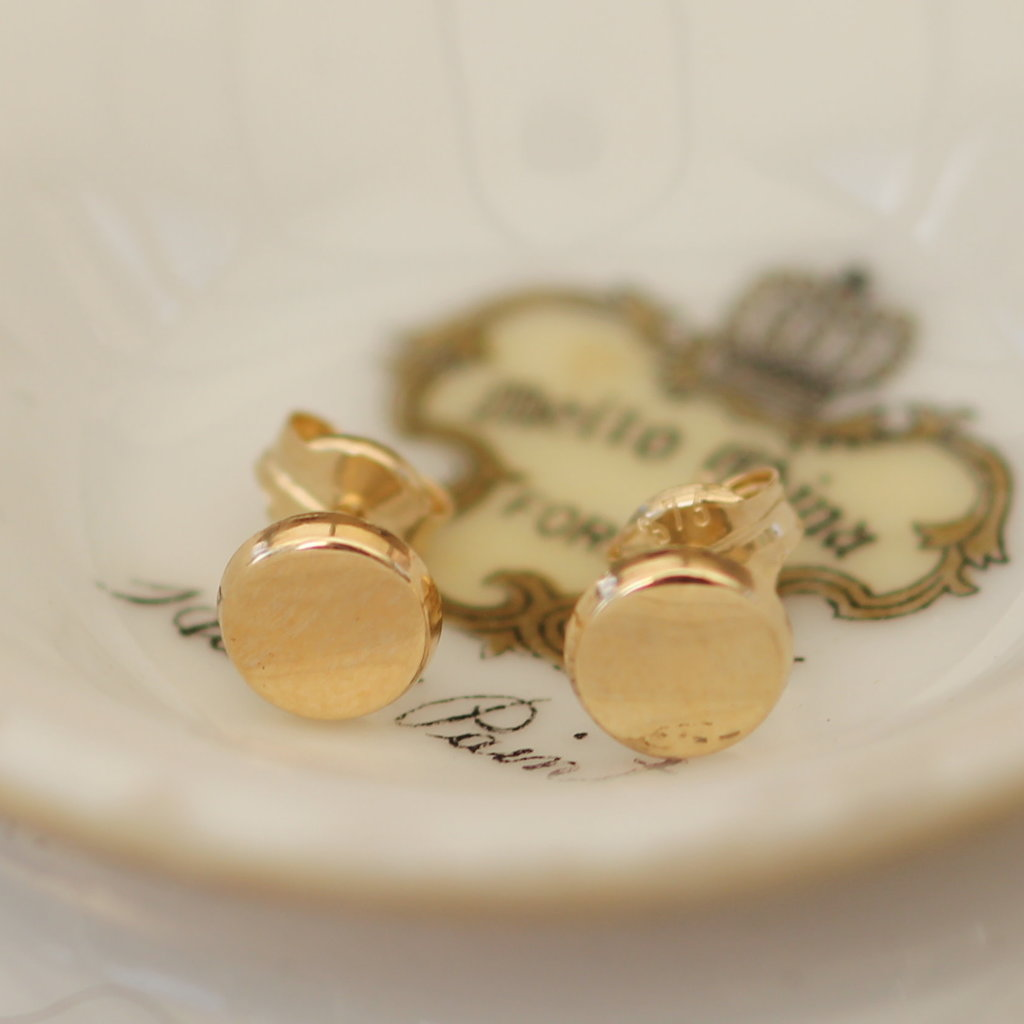 Joulberry Golden Button Earrings