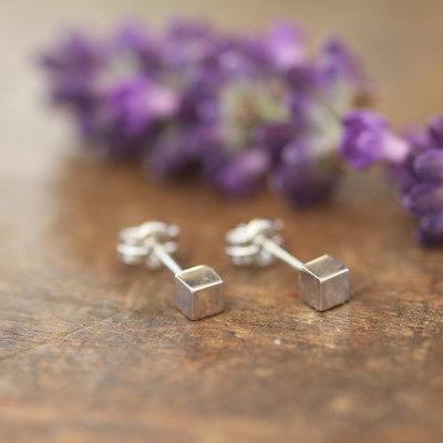 White Gold Cube Earrings