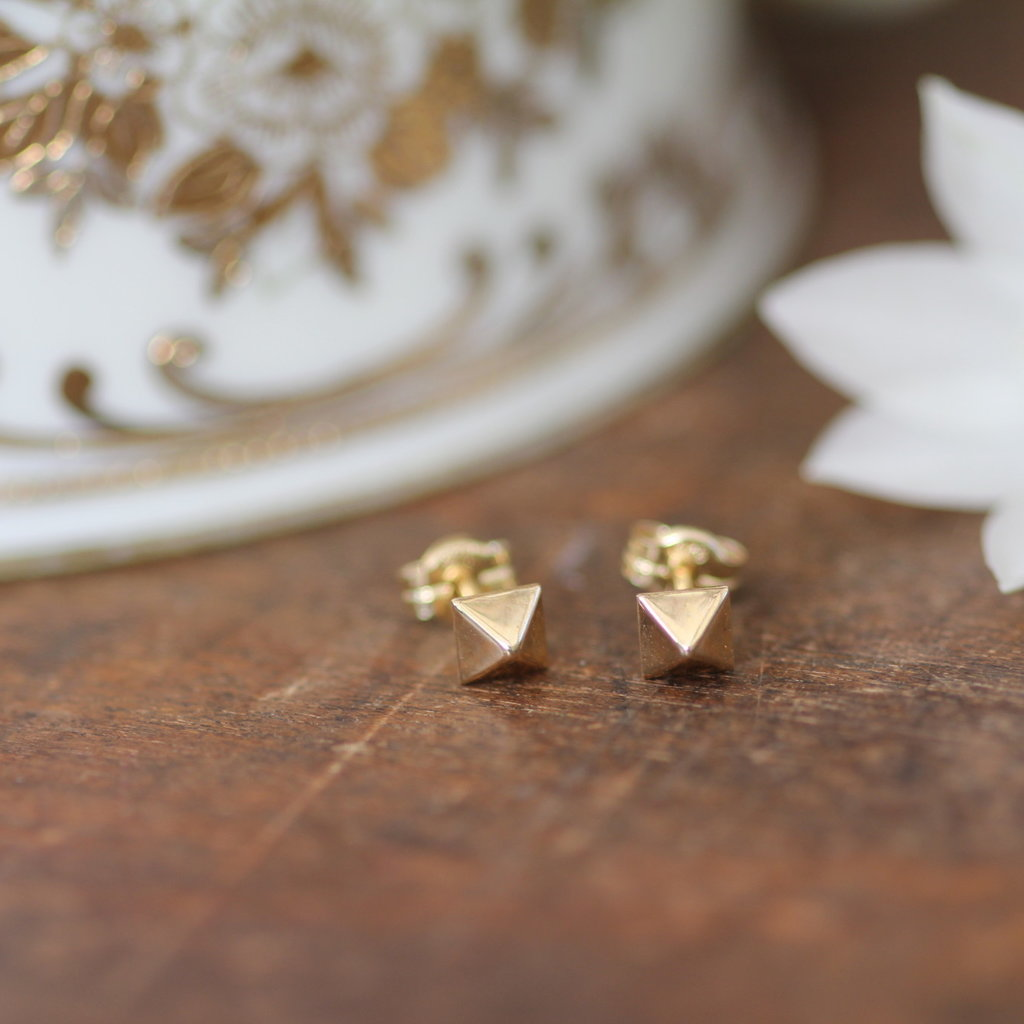 Joulberry Golden Pyramid Earrings