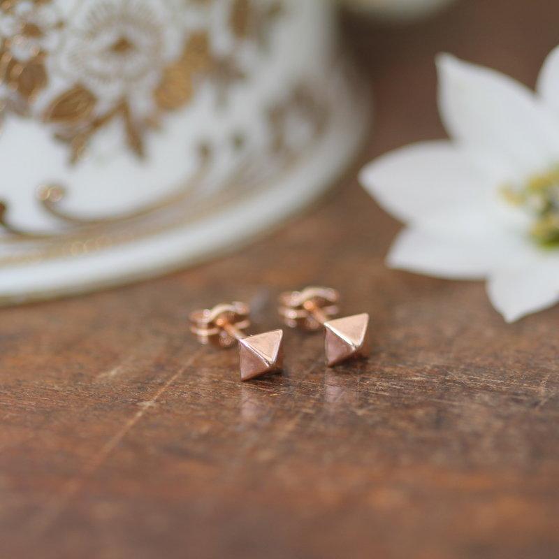 NOVA Rose Gold Pyramid Earrings
