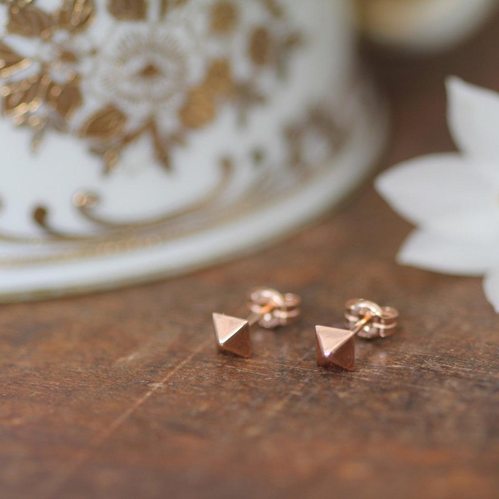 Rose Gold Pyramid Earrings