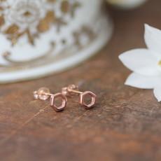 Joulberry Rose Gold Hexagon Earrings