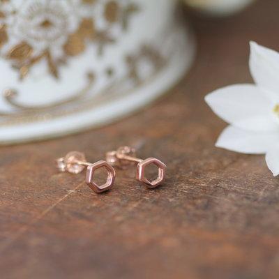 Rose Gold Hex Silhouette Earrings